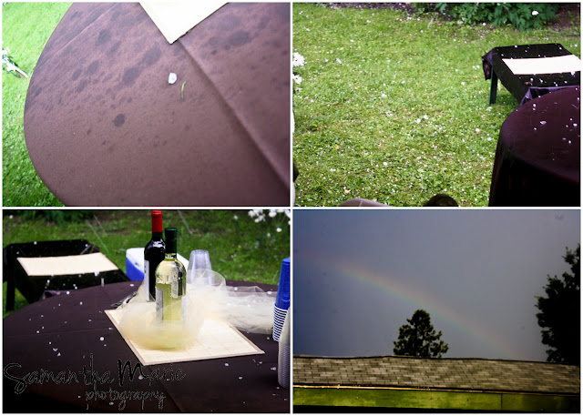 hail and rainbow at wedding