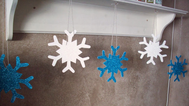 hanging snowflakes Glitter Snowflakes and Rudolph Christmas Decorations #glitteratmichaels