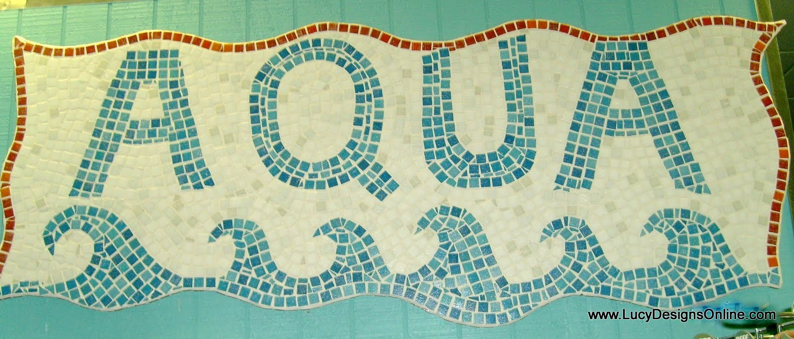 ceramic tile mosaic sign with waves