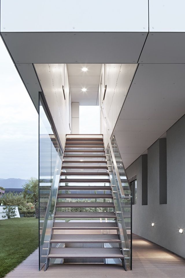 Outdoor steel and glass staircase
