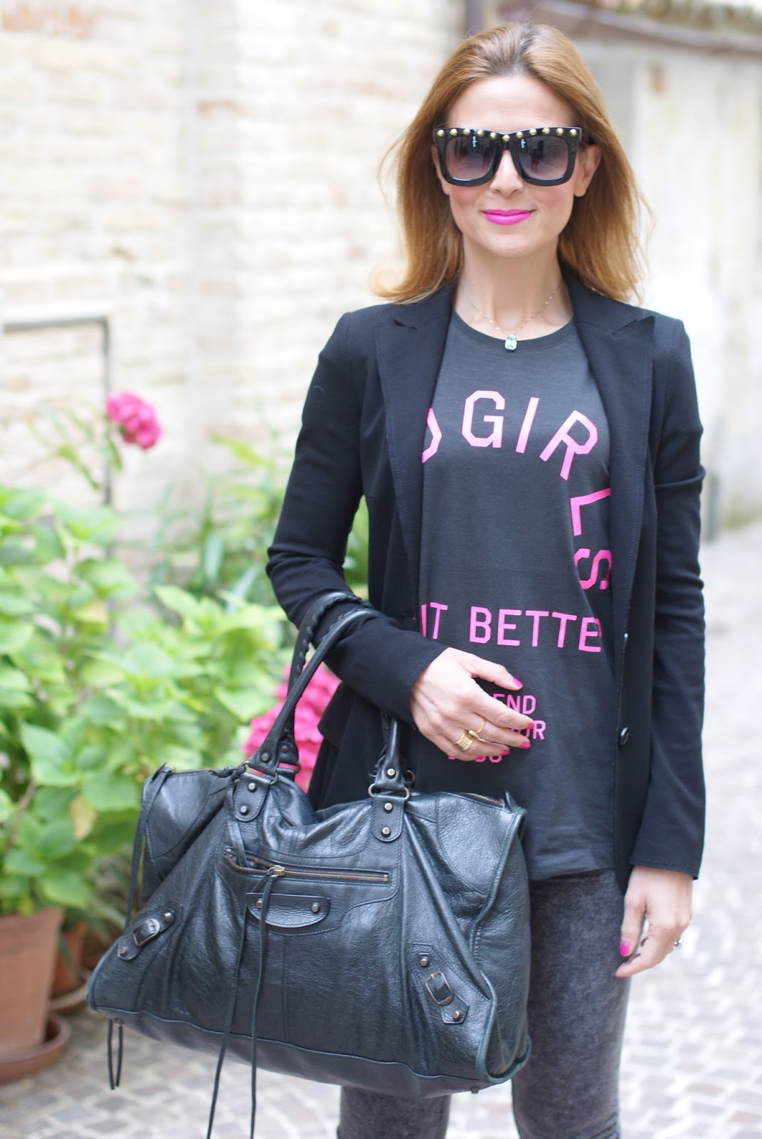 black Balenciaga work bag, bad girls do it better t-shirt, rock look on Fashion and Cookies fashion blog, fashion blogger style