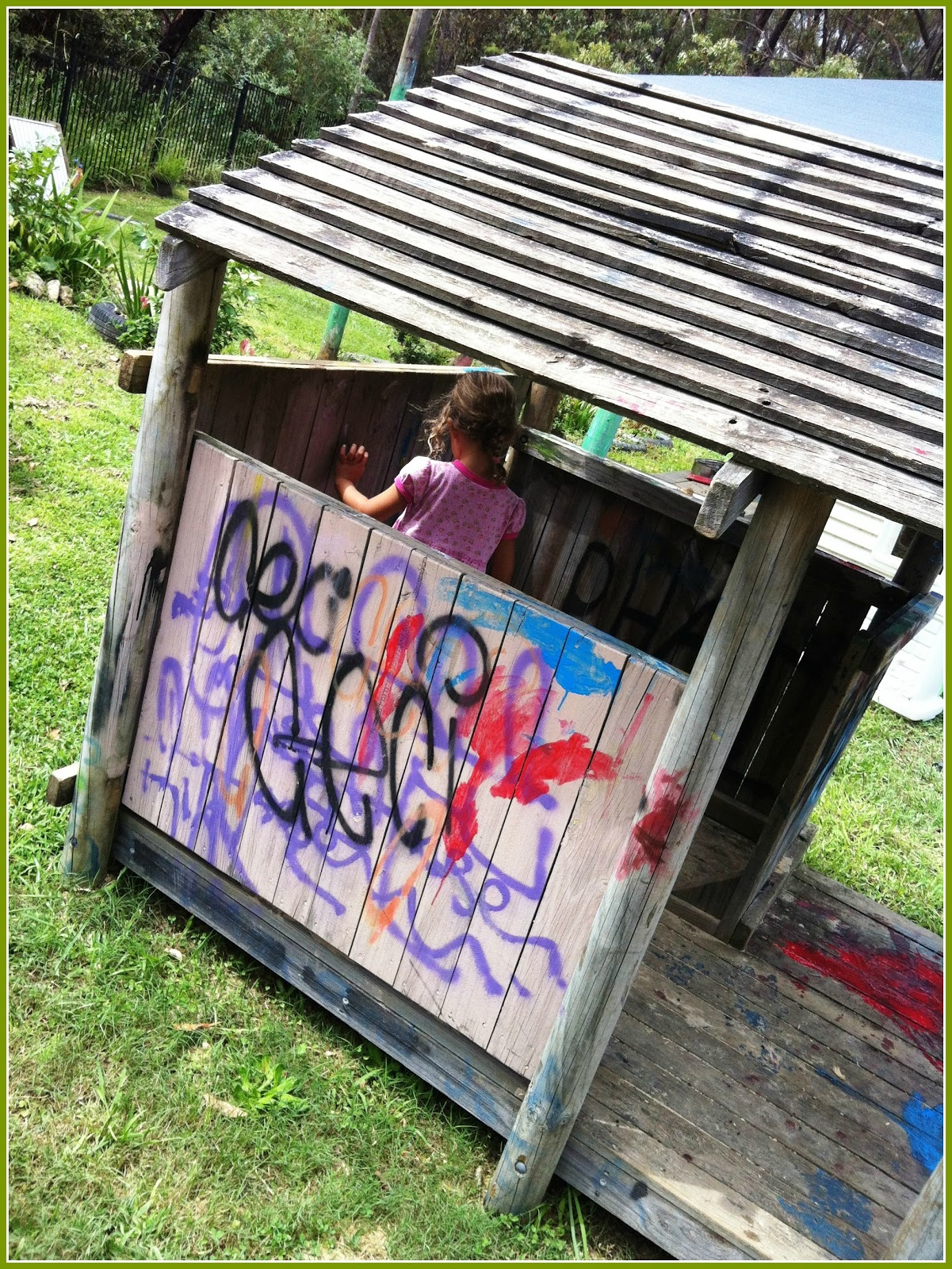let the children play redecorating our new old cubby house