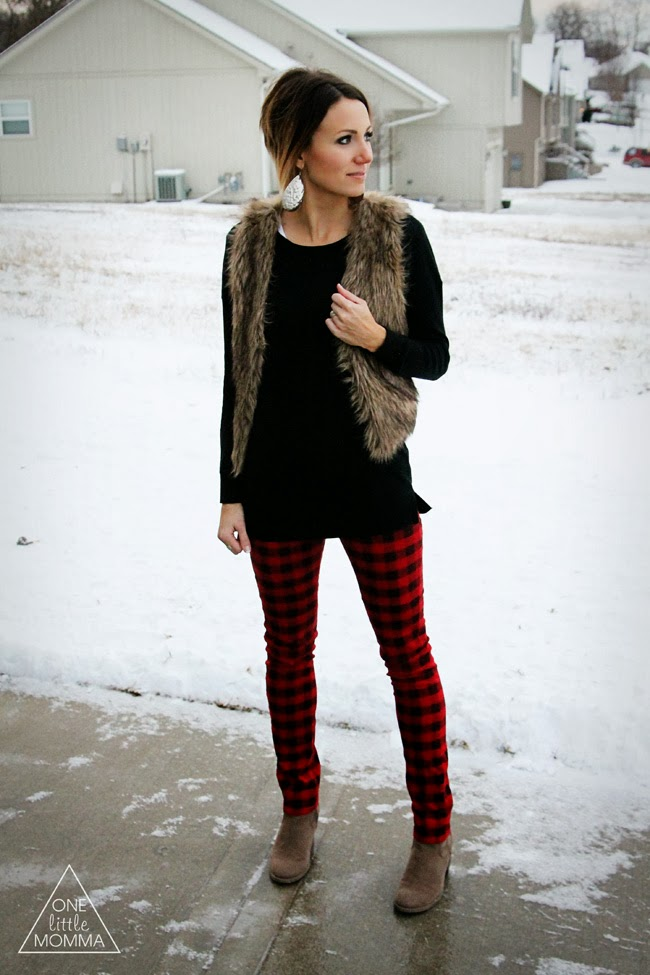 Fur vest, buffalo plaid pants, ankle boots