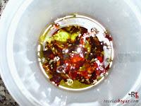 Pollo en salmorejo canario con aceite