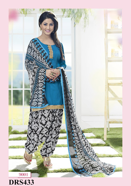 Hina Khan Chanderi Cotton Patiala Dress Material