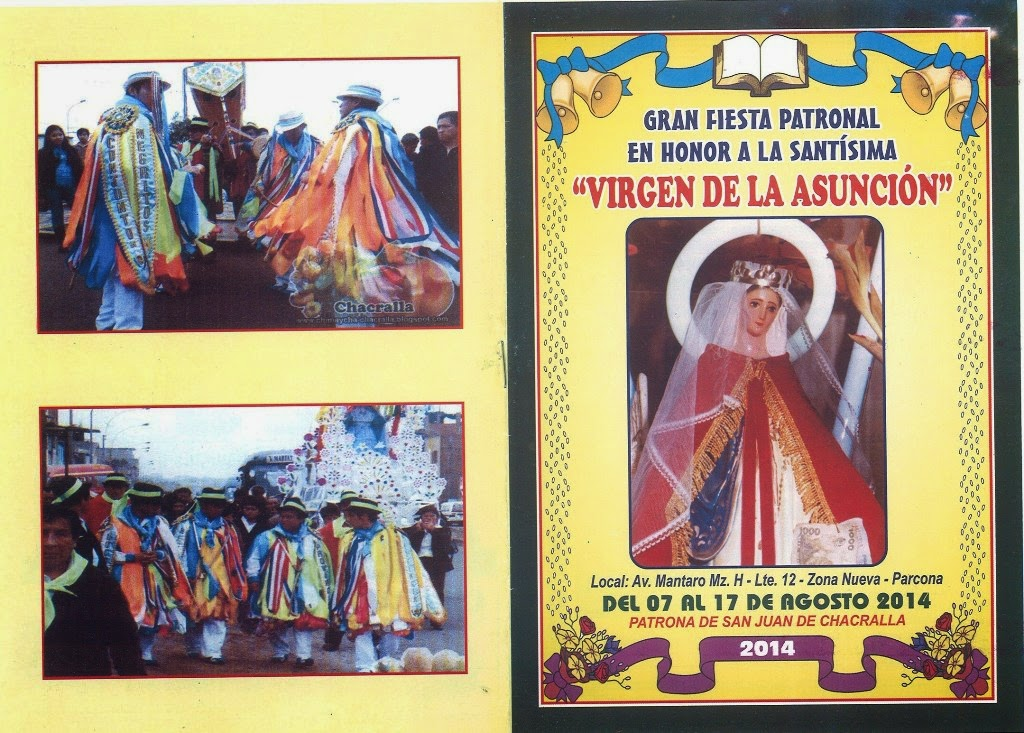 INVITACION FIESTA PATRONAL A LA VIRGEN DE ASUNCION PATRONA DEL PUEBLO DE CHACRALLA EN ICA
