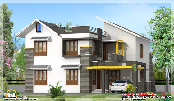 Modern contemporary 2100 square feet, 4 BHK Kerala style villa