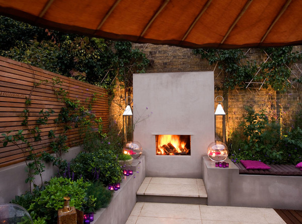Wood Garden Design medina modern concrete patio with wood screen and grill cover by sublime garden design 700465 High Level And Skilled Garden Designer From London Agit Garden