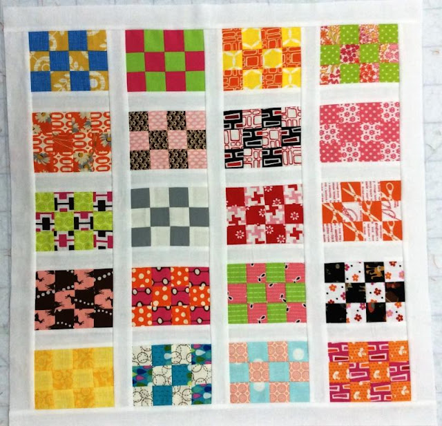 photo of a pack patch mini quilt along quilt top