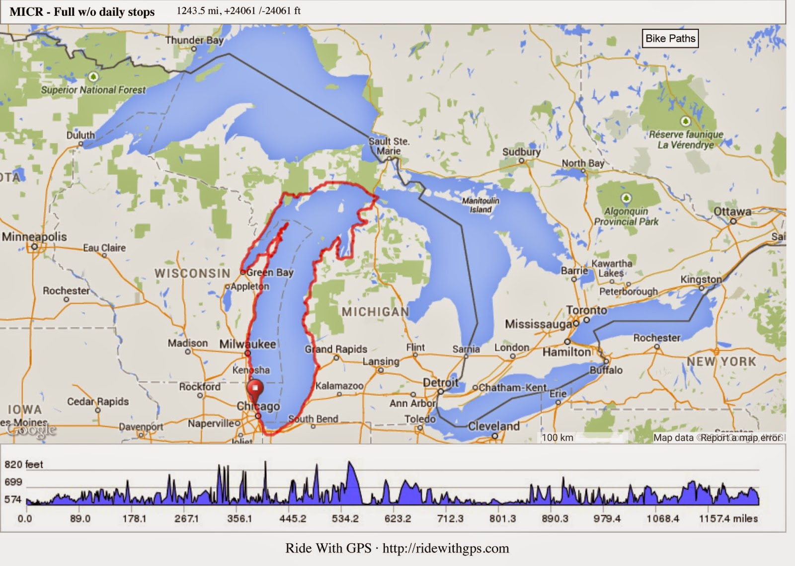 an overview of our challenge 1 350 miles 24 061 feet of climbing and descending of course its a circle afterall