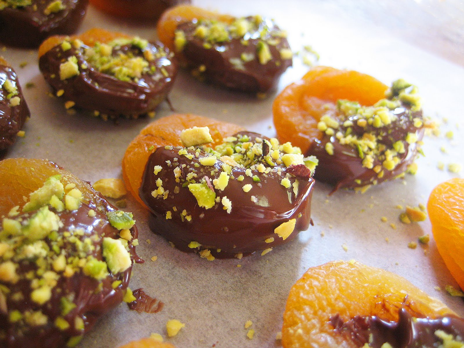 Chocolate Covered Apricots With Pistachios