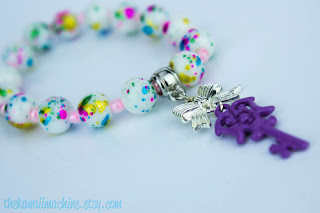 kawaii fairy kei neon pearl and ribbon stretch bracelet
