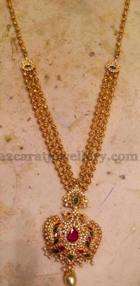 sea work filigree dull carat krishna gold bunches designs south lockets pearls chains long finish with chain kundan small jewellery pendant embellished left lakshmi round beads