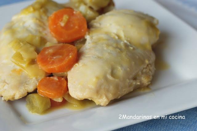 Pollo al limón con puerro y zanahoria enriquecido con Avecrem