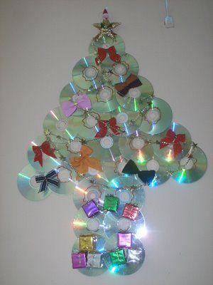 Artesanato e reciclagem com cd enfeites de natal for Arbol de navidad mural