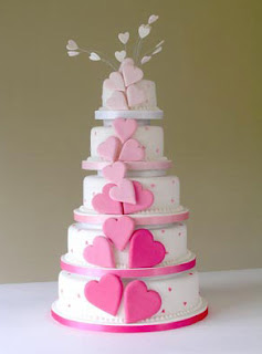 pink hearts wedding cake