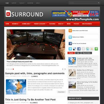 Surround blog template. template image slider blog. magazine blogger template style