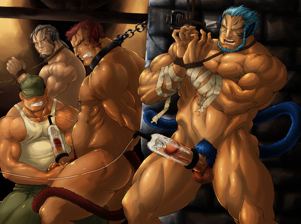 3d anime muscular gays foursome handjob 3