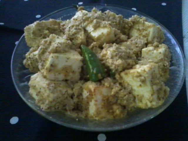 Paneer Bhape/Steamed Cottage Cheese In Mustard-Poppy Seed Gravy