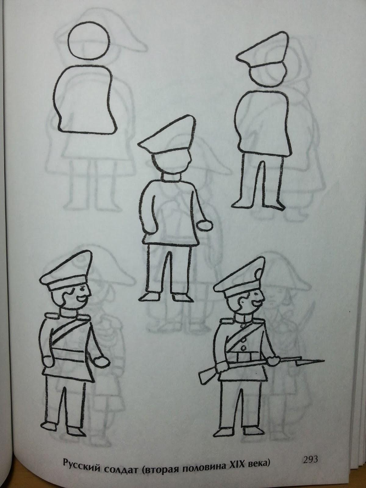 Как нарисовать солдата карандашом поэтапно для детей 126