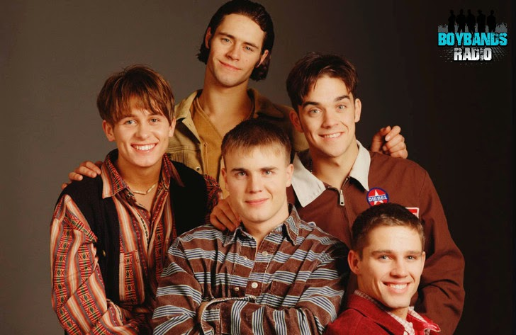 """Mark, Howard, Gary, Robbie and Jason (Take That) during a photo session to promote their second album """"Everything Changes""""."""
