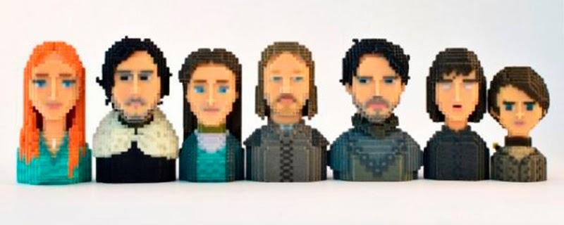 Personajes de Juego de tronos en 3D al estilo 8-bits