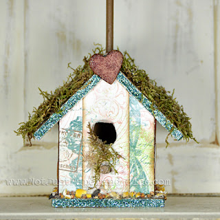 Birdhouse; P K Glitz; Glitter; Sticky Tape; Moon Dust; Picture holder; Patterned Paper; Embossing Powder; Not Just Paper and Glue; Tutorial