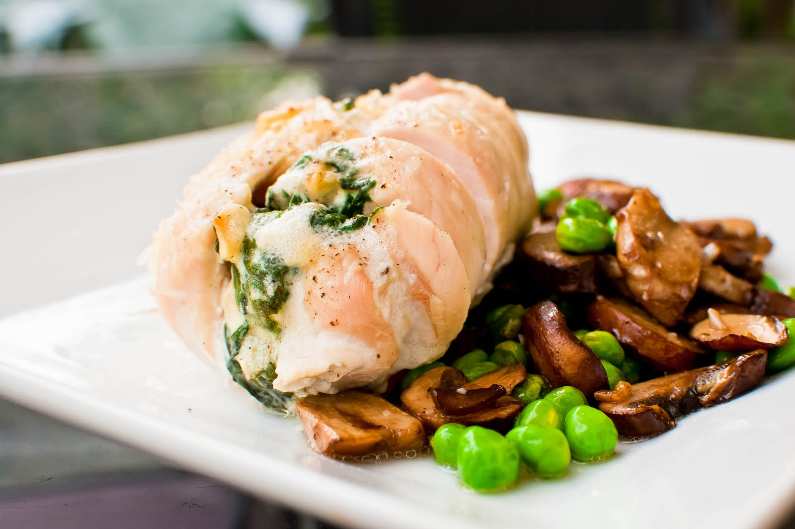 ... Be Good.: Spinach-Stuffed Chicken Breasts w/ Spicy Peas & Mushrooms