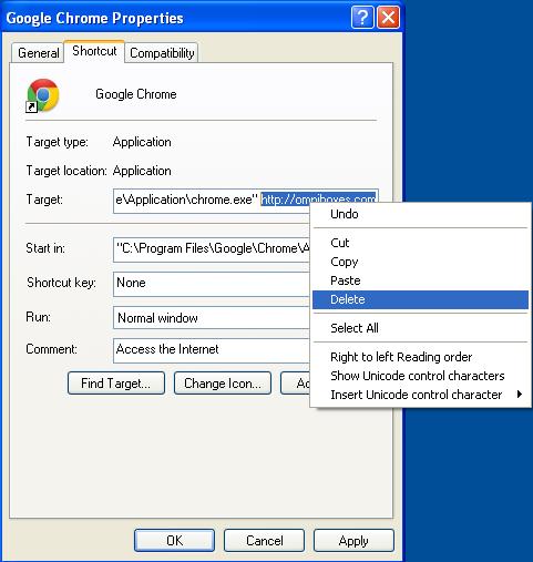 Propiedades maliciosas acceso directo OmniBoxes.com