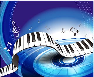 ピアノの鍵盤と音符の背景 gorgeous piano key background イラスト素材