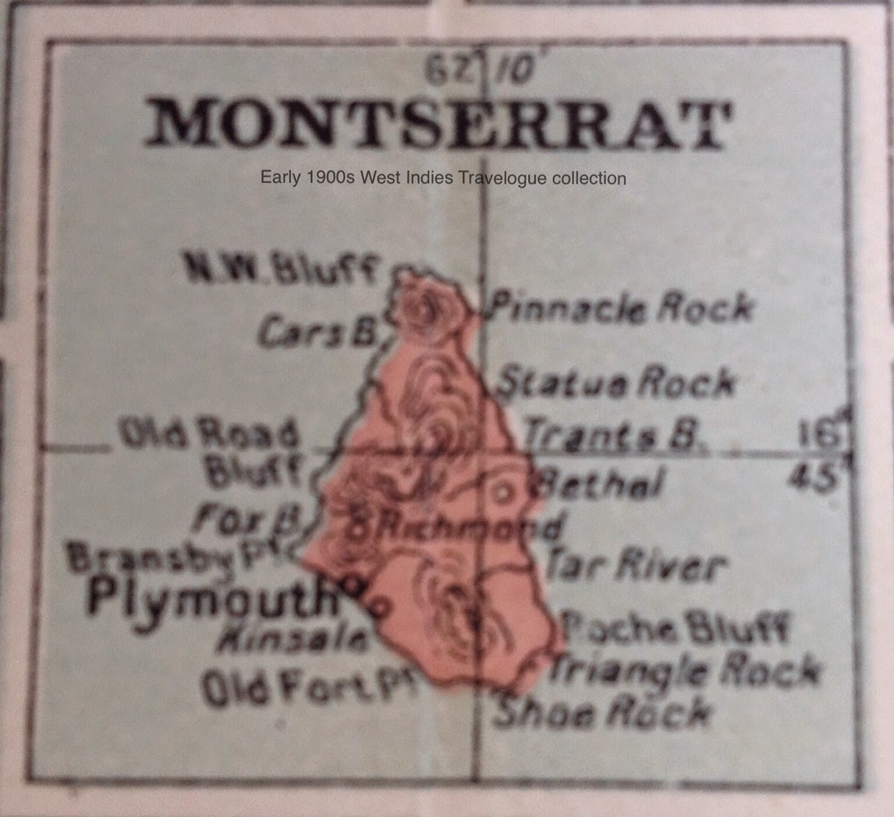 vintage map of montserrat purchased clipped
