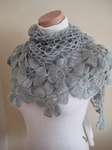 Floral Gray Scarf - Grey Flower Triangle Cowl, Neckwarmer