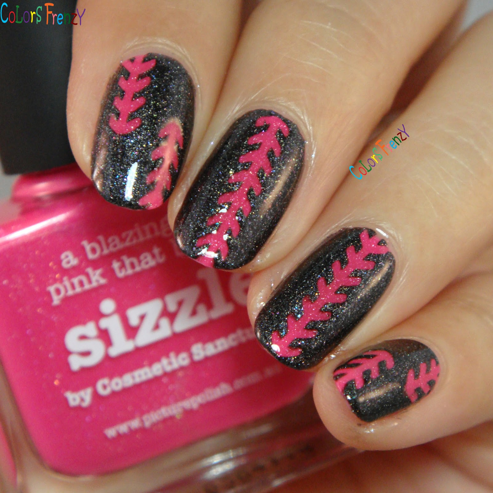 Colors frenzy picture polish sizzle swatches nail art w badass and heres a little nail art i did using stiching nail vinyls from beyond the nail and picture polish badass for my fright night trip prinsesfo Image collections