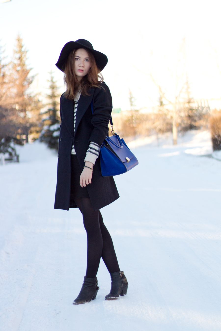 felt hat, how to wear long coat, winter fashion, long wool coat, celine trapeze in indigo, sam edelman lucca, layered necklace, quartz pendant, ranger hat, bohemian, calgary fashion,