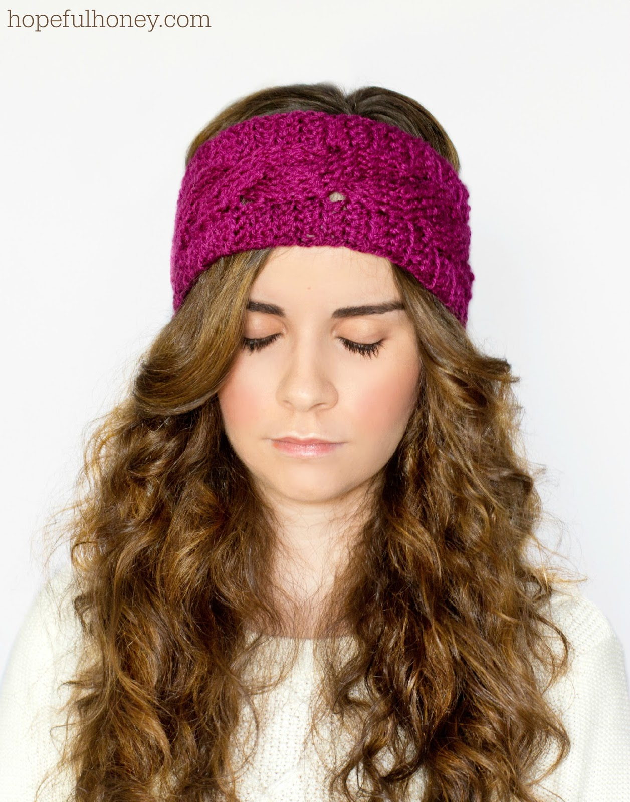 Free Adjustable Crochet Headband Pattern : Hopeful Honey Craft, Crochet, Create: Cabled Earwarmer ...