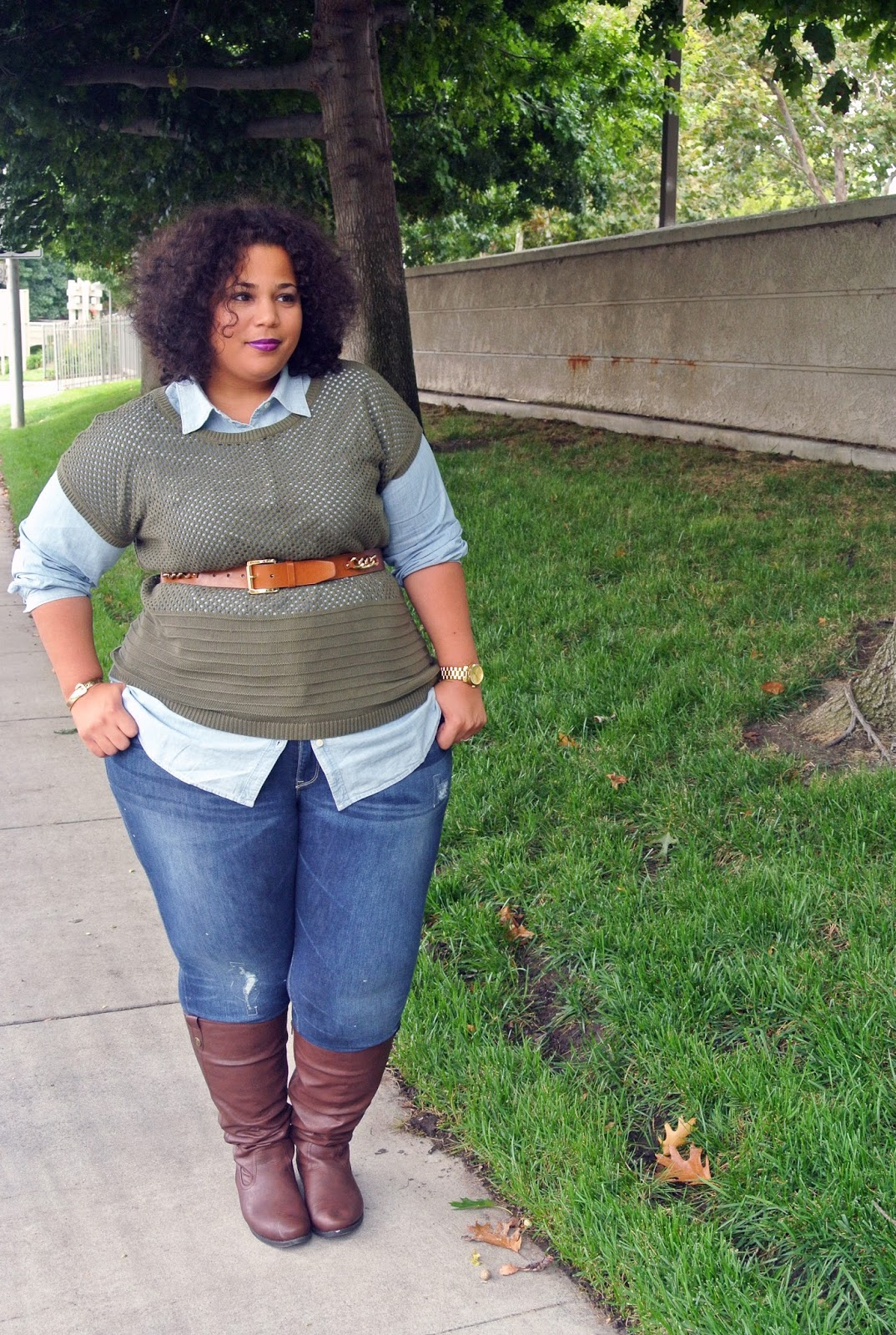 Old Navy Plus Size Denim Outfit, Old Navy Chambray Top