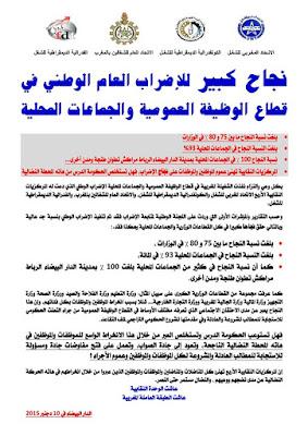 بلاغ المركزيات الأربع: نجاح كبير للإضراب العام الوطني في قطاع الوظيفة العمومية والجماعات المحلية