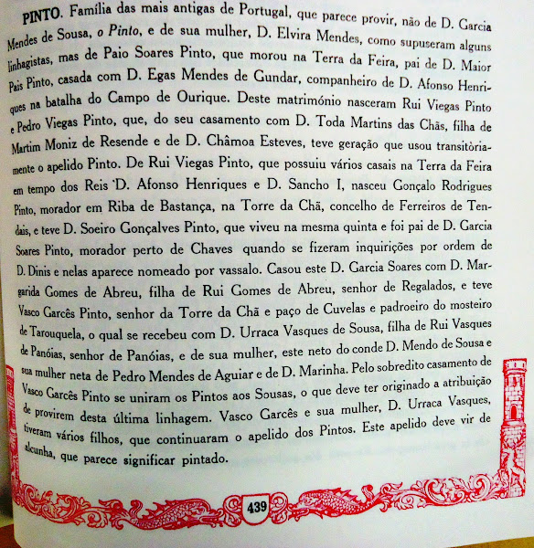 """Entrada sobre a família PINTO, na obra """"Armorial Lusitano"""""""