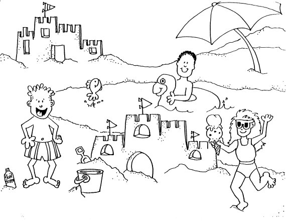 Playing Sand at the Beach Coloring Pages >> Disney Coloring Pages
