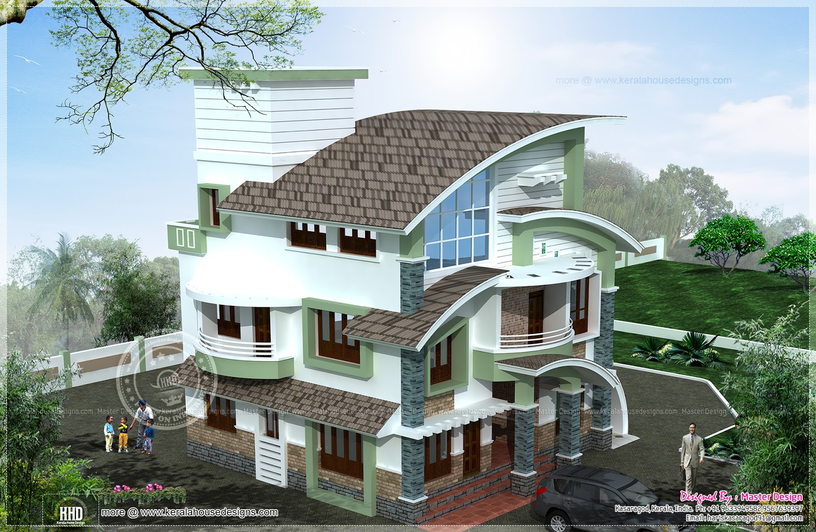 New arch type 3 storey home elevation home kerala plans for New kerala house plans with front elevation