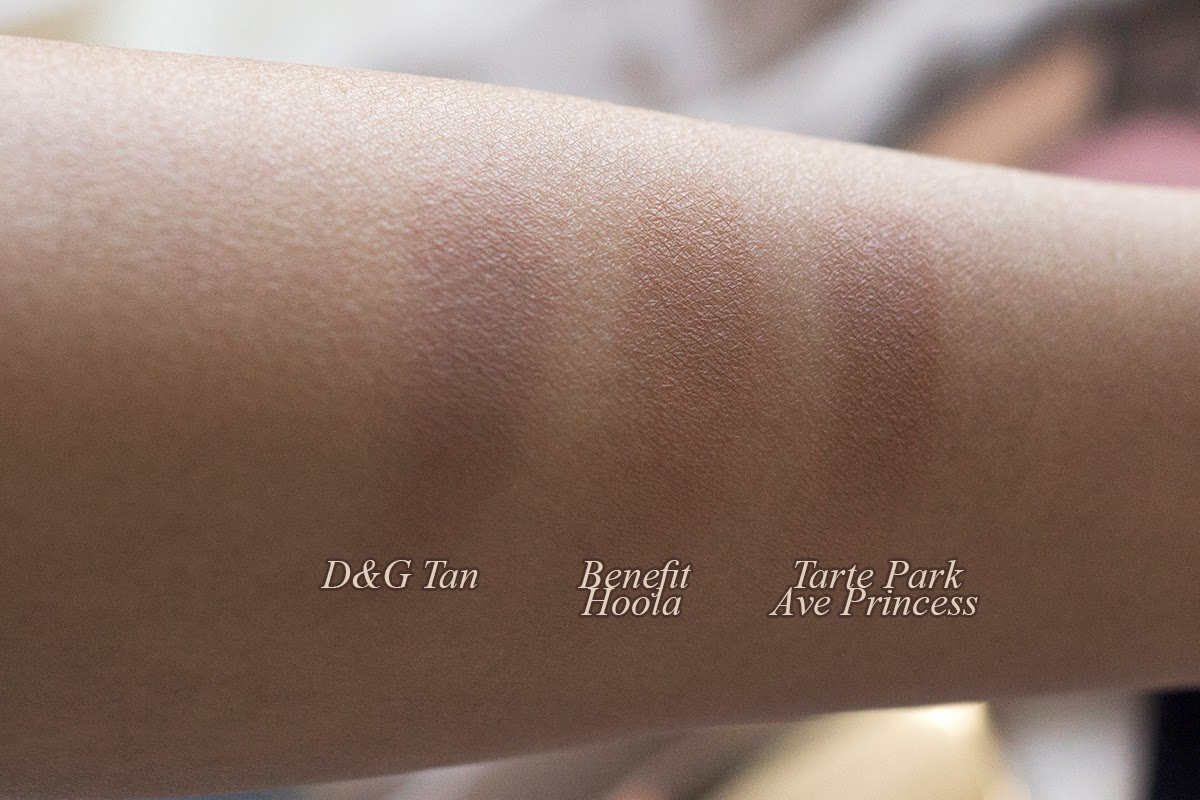dolce & gabbana tan, benefit hoola, tarte park ave princess swatches and comparision