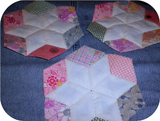 Vintage English Paper Piecing 3 assembled stars