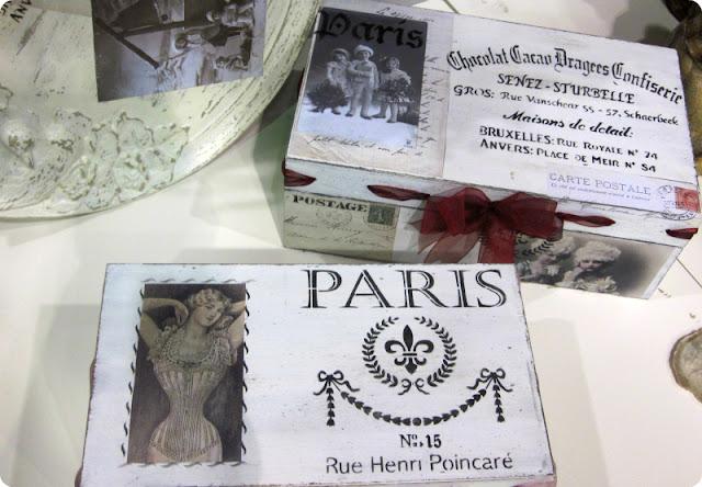 Caja de madera personalizada con motivos de París
