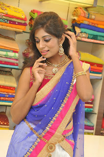 Mounika Reddy Modeling Kanjiam Designer Surti Saree from Ethnicpoint.com