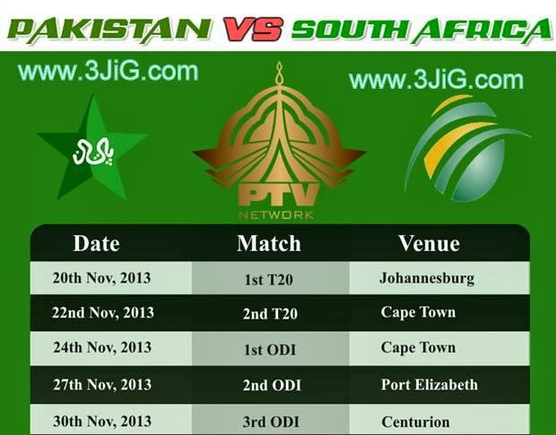 Pakistan vs South Africa Short Tour Schedule 2013 | Pakistan Tour to South Africa Match Timing 2013
