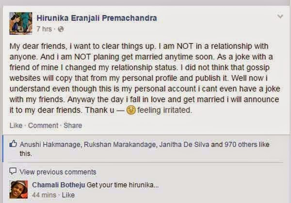 Hirunika Updates her Facebook Relationship again about love