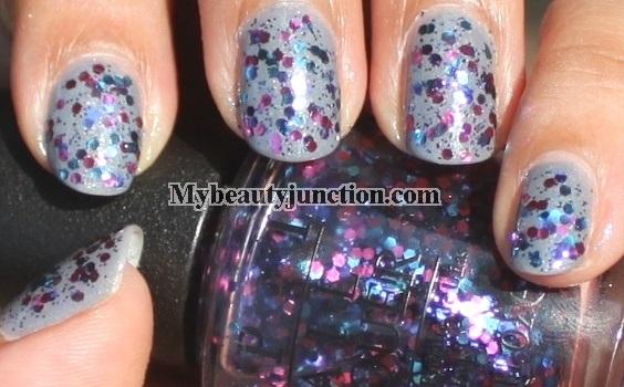 Manicure: O.P.I. Polka.com glitter nail polish swatched over I Don't Give A Rotterdam