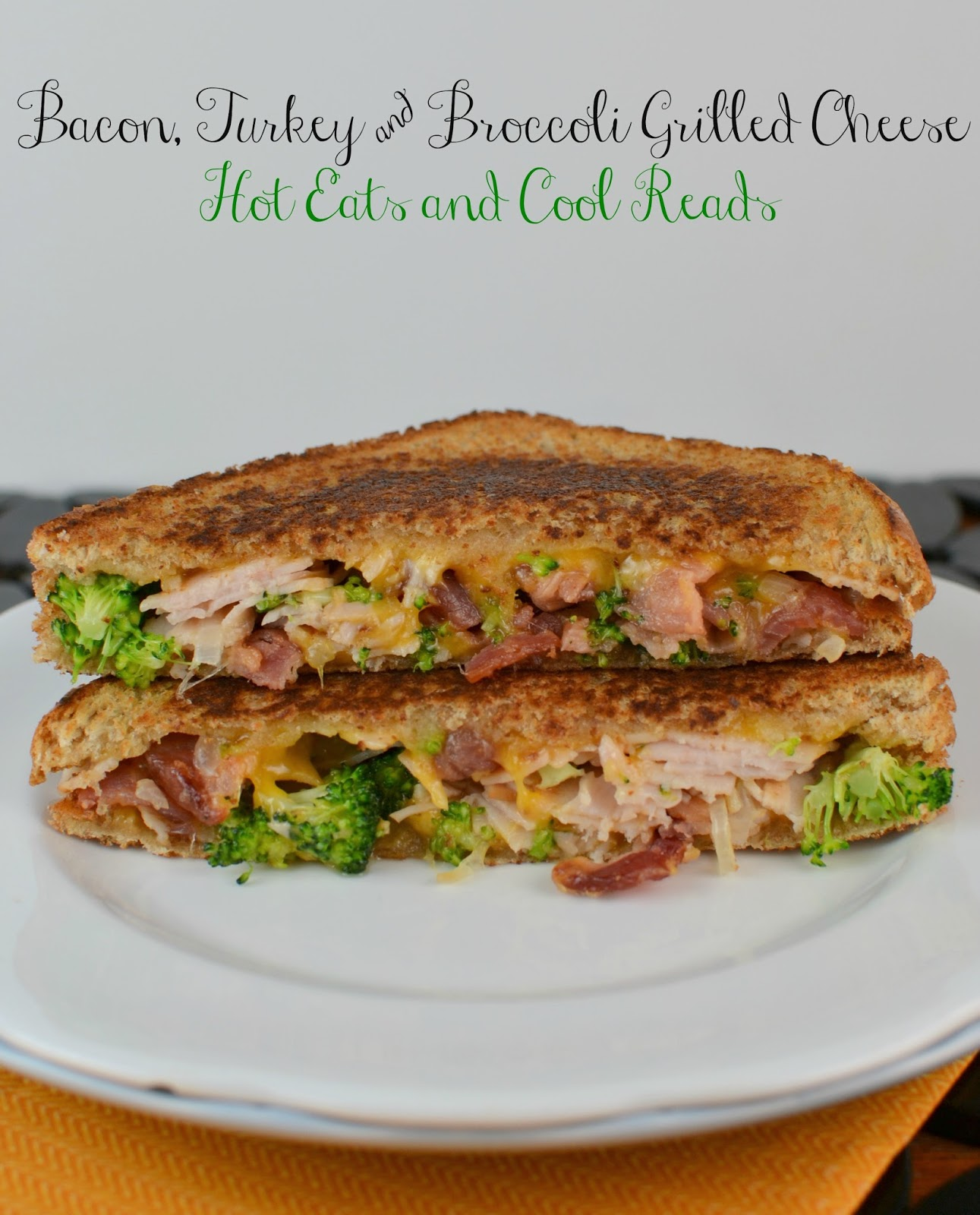 This recipe is perfect for any grilled cheese lover! Full of bacony, cheesy goodness! Turkey, Broccoli and Cheddar Grilled Cheese Sandwich from Hot Eats and Cool Reads!