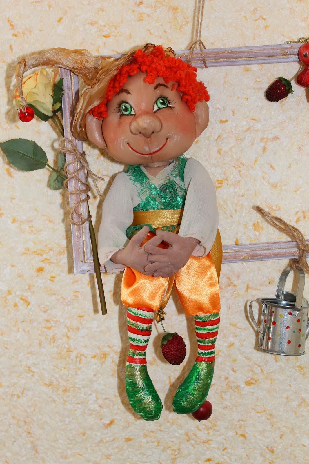 Текстильная игрушка на каркасе Садовый эльф, фей