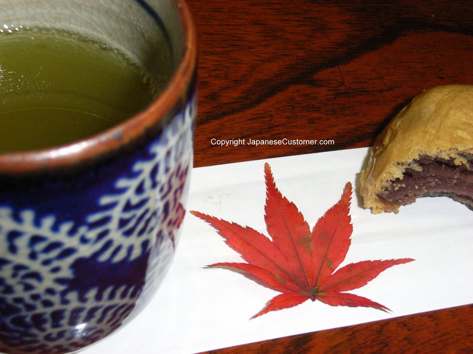 Japanese Green tea with Manju Copyright Peter Hanami 2007 all rights reserved